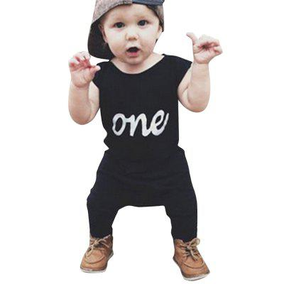 Newborn Baby Boy One Print Sleeveless Romper Bodysuit Jumpsuit Summer Outfits
