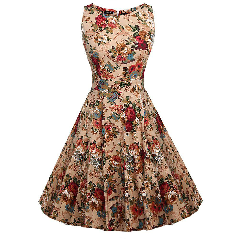 Collar Cotton Flora Printing Sleeveless Retro Dress