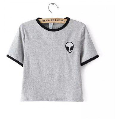 Round Neck Short Sleeve Alien Embroidery T-Shirt