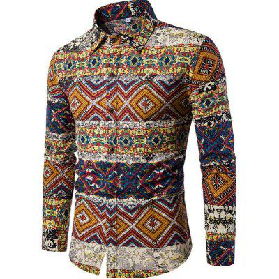 Outono e Inverno New Men's Sleeves Long Printed Floral Beach Night Clubs Shirts