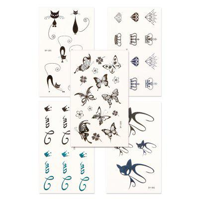 5pcs Women'S Tattoo Sticker Set Waterproof Cute Cartoon All Match Accessory YMBY001-006