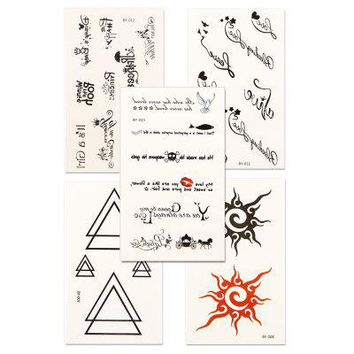 5pcs Women's Tattoo Sticker Set Waterproof Cute Cartoon All Match AccessoryYMBY008-013