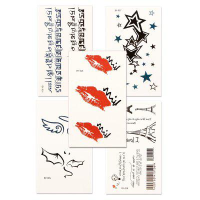 5pcs Women's Red lip Tattoo Sticker Set Waterproof Cute Cartoon All Match AccessoryYMBY014-018