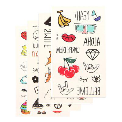 4pcs Women'S Fruits Design Tattoo Sticker Set Waterproof Cute Cartoon All Match AccessoryYMBY429-432