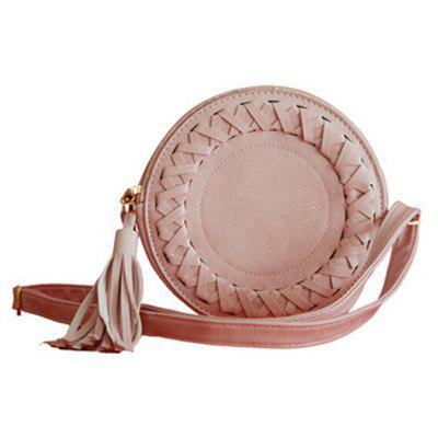 Buy PINK Women's Crossbody Fashionable Solid Weaving Round Tassel Bag for $19.84 in GearBest store
