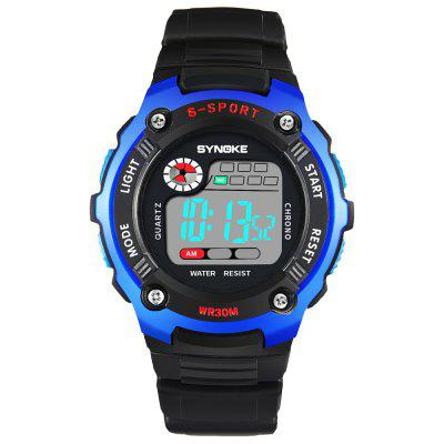 SYNOKE 99589 Multi-functional Waterproof Children Electronic WatchKids Watches<br>SYNOKE 99589 Multi-functional Waterproof Children Electronic Watch<br><br>Band material: Plastic<br>Band size: 25 x 2.017cm<br>Brand: Synoke<br>Case material: ABS<br>Clasp type: Pin buckle<br>Dial size: 4.65 x 4.65 x 1.411cm<br>Display type: Digital<br>Movement type: Digital watch<br>Package Contents: 1 x Watch<br>Package size (L x W x H): 12.50 x 8.00 x 9.00 cm / 4.92 x 3.15 x 3.54 inches<br>Package weight: 0.0471 kg<br>Product size (L x W x H): 25.00 x 4.65 x 1.41 cm / 9.84 x 1.83 x 0.56 inches<br>Product weight: 0.0404 kg<br>Shape of the dial: Round<br>Special features: Alarm Clock, Luminous, Stopwatch, Date<br>Watch mirror: Acrylic<br>Watch style: Trends in outdoor sports<br>Watches categories: Children table<br>Water resistance: 30 meters