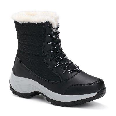 1517 Fashion Snow Boots Women Thick Warm Base Thick Cotton Shoes Students Waterproof Winter Boots High Help Shoes