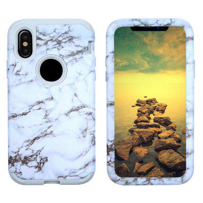 Marble PC and Silicone Anti Shock Impact Tough Armor Case for iPhone X