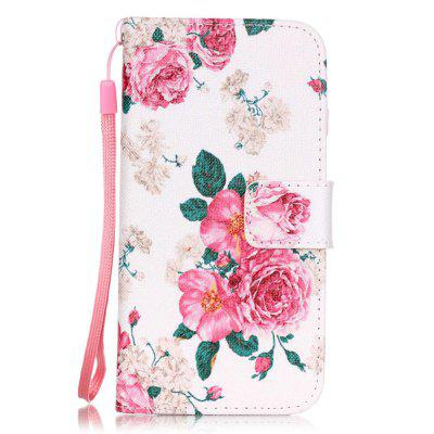 White Flowers Pattern PU Leather Flip Wallet Case for iPhone 7 / 8