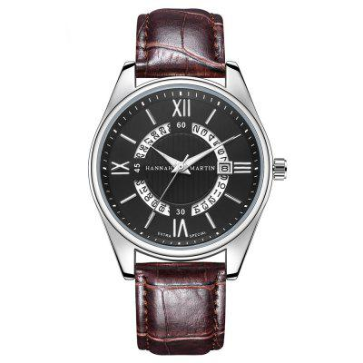 Hannamading KY14 4866 Casual Fashionable Leather Band Men Watch