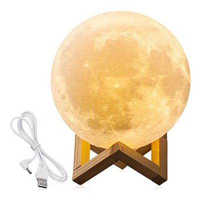 Moon Light 3D LED Printing Moon Lamp with USB Touch Control and USB Charger, Warm and Cool White Night Light 5.52 in