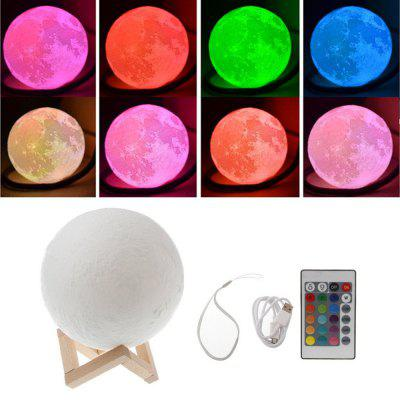 KWB 3D Printing Moon Lamp Night light  Brightness Color Changing LED Night Light USB Charging With Remote Control