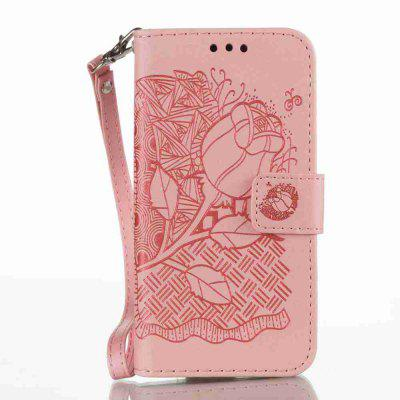Double Embossed Rich Flowers PU TPU Phone Case for Samsung Galaxy A3 2017