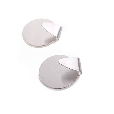 DIHE Coat and Hat Hook Oval Stainless Steel Strong Adhesive Hook 2PCS