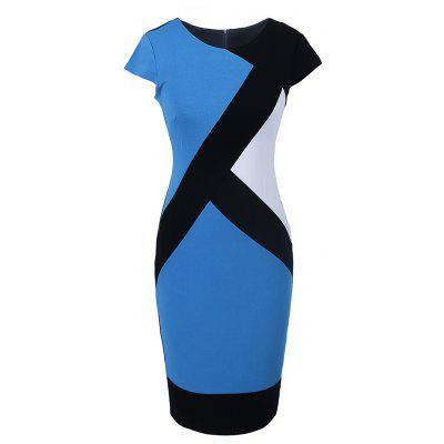 Fashion Optical Illusion Patchwork Contrast Women Short Sleeve Elegant Slim Casual Work   Bodycon Plus Size Pencil Dress