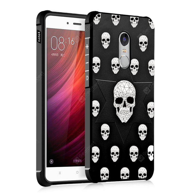 Skull Design Ultra Slim TPU Shockproof Black Silicone Soft Back Case For for Xiaomi Redmi Note 4