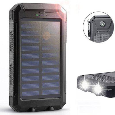 Buy Solar Charger Power Bank 10000mAh External Backup Battery Pack Dual USB Solar Panel Charger with 2LED Light BLACK A for $12.96 in GearBest store