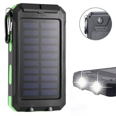 Buy Solar Charger Power Bank 10000mAh External Backup Battery Pack Dual USB Solar Panel Charger with 2LED Light IVY for $12.96 in GearBest store