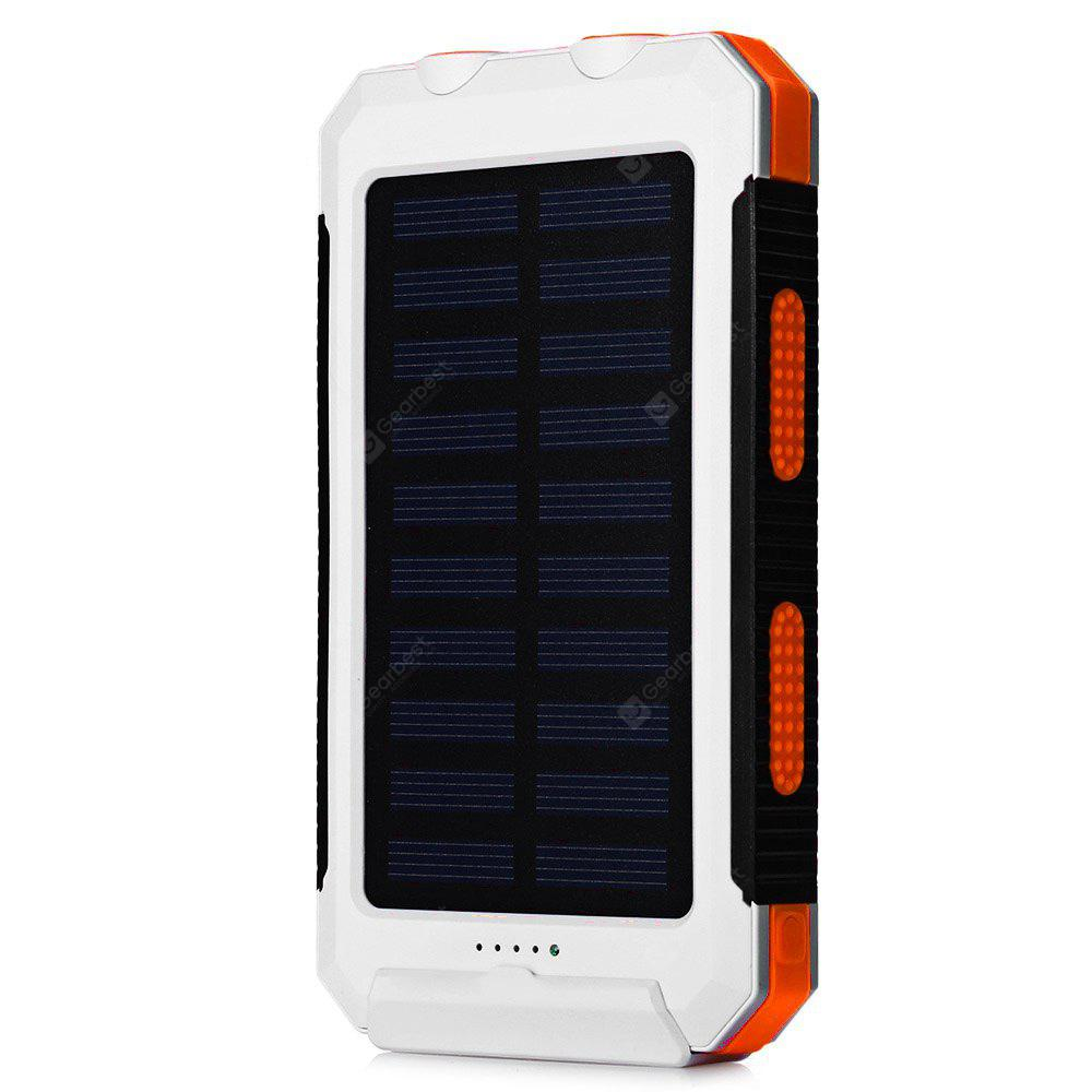 Solar Power Bank 10000mAh External Backup Battery Pack Dual USB Solar Panel Charger with 2LED Light Carab