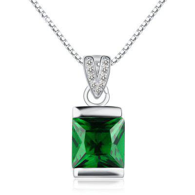 JAMOUR S925 Silver-Encrusted Square Emerald Crystal Personalized Hypoallergenic Pendant Necklace