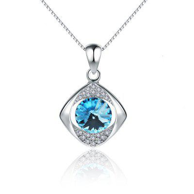 JAMOUR S925 Silver Blue Crystal Simple Wild Lady Hypoallergenic Pendant Necklace