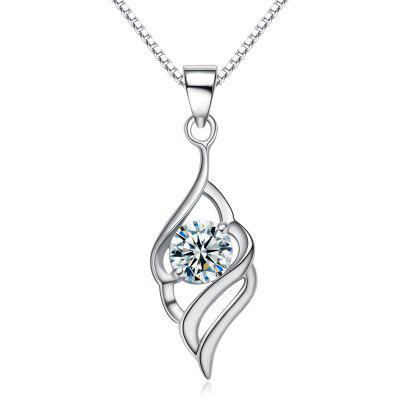 JAMOUR S925 Silver Angel Wings Simple Fashion Personality Hypoallergenic Pendant Necklace