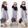 Spring Autumn Kids Clothes Pure Cotton Irregular Long Sleeves Girls Dress - GRAY