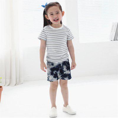 Kids Girls Short Sleeve Striped T-shirt Children Summer Tops Clothes