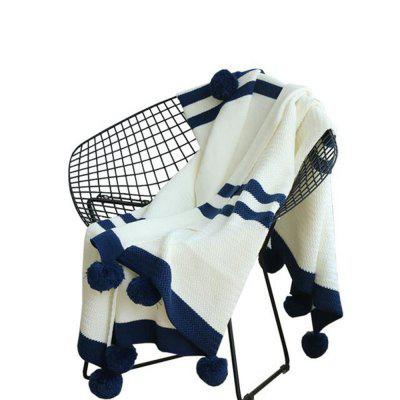 Stripe Knitted Ball and Decorative Leisure Blanket