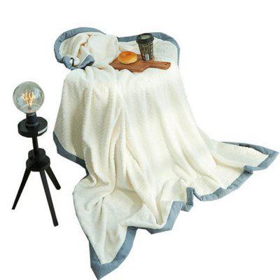 White Thickening Warm Blue Side Double Fluff Blanket