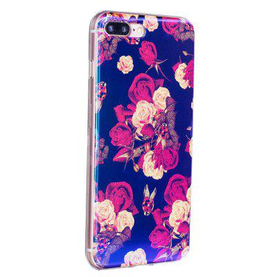 Blue Glitter Begonia Flowers Pattern Phone Case for iPhone 8 Plus