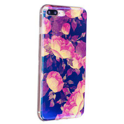 Blue Glitter Lotus Pattern Phone Case for iPhone 8 Plus