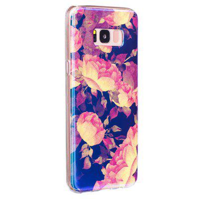 Blue Glitter Lotus Pattern Phone Case for Samsung Galaxy S8