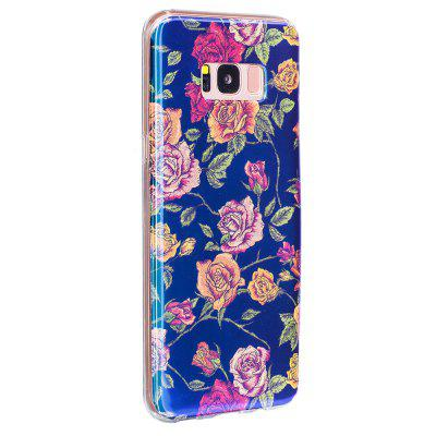 Blue Glitter Rose Pattern Phone Case for Samsung Galaxy S8
