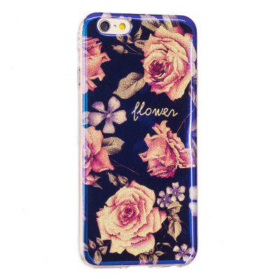 Blue Glitter Pink Peony Pattern Case for iPhone 6 Plus