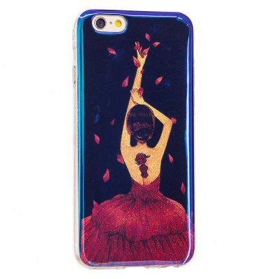 Custodia Blue Glitter Girl Pattern per iPhone 6 Plus