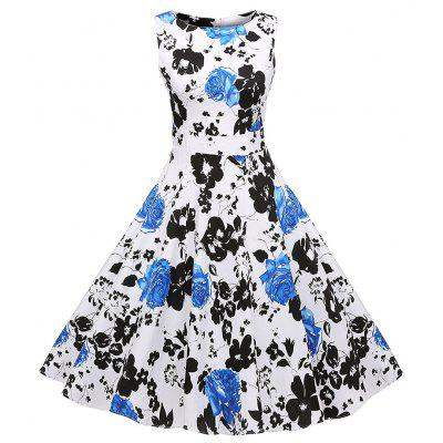 Cotton Printing Large Size Sleeveless Dress