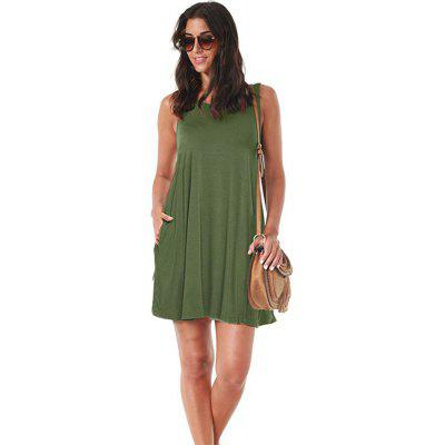 Modal Fashion Sleeveless Casual Baggy Double Pocket Dress