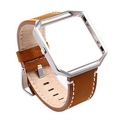 Vintage Genuine Leather Replacement Watchband with Metal Clasp Buckle for Fitbit Blaze Band