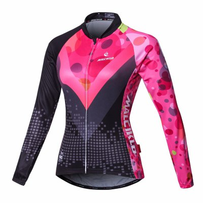 Malciklo Cycling Jersey with Bib Tights Women's Long Sleeves Bike Compression Suits Quick Dry Front Zipper