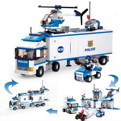 Sluban 2 in1 City Mobile Police Station Car Truck Helicopter Building Block Brick Toy ( 572 Pieces )