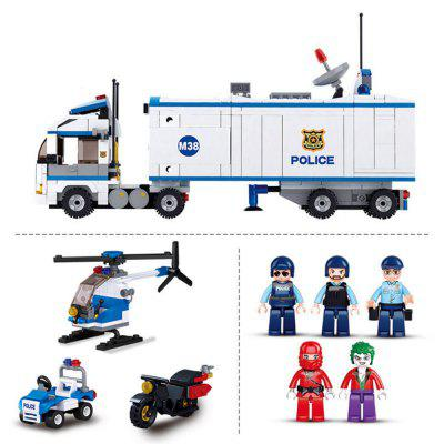 Sluban 2 in1 City Mobile Police Station Car Truck Helicopter Building Block Brick Toy ( 572 Pieces ) police station park diy track car parking building block toy boy gift learning