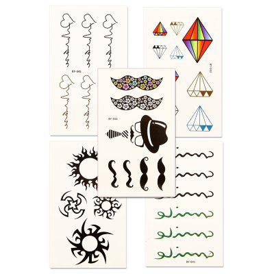 5pcs Women's Red lip Tattoo Sticker Set Waterproof Cute Cartoon All Match AccessoryYMBY041-045