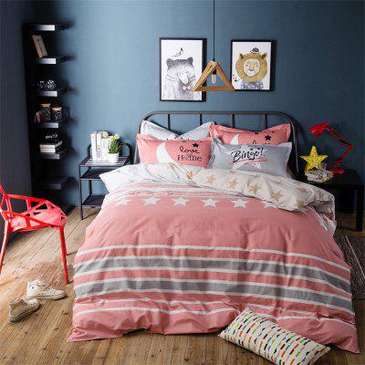 100 Percent Sanding-cotton Four-piece of Pink Star Bedding Sets
