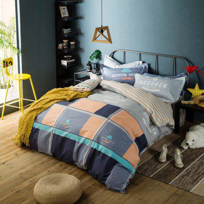 100 Percent Sanding-cotton Four-piece of Large Grid Bedding Sets