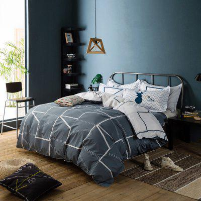 100 Percent Sanding-cotton Four-piece of Dark Grey Stripe Bedding Sets