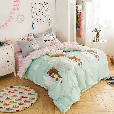 100 Percent Sanding-cotton Four-piece of Cute Bear Bedding Sets