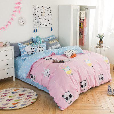 100 Percent Sanding-cotton Four-piece of Happy Zoo Bedding Sets