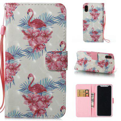 Flamingos Pattern 3D PU Leather Flip Wallet Case for iPhone X
