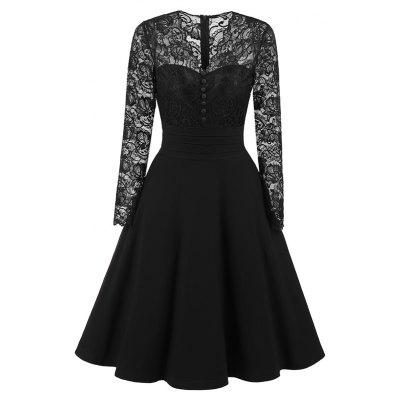 European and American Vintage Women'S Lace V Neckline Dress